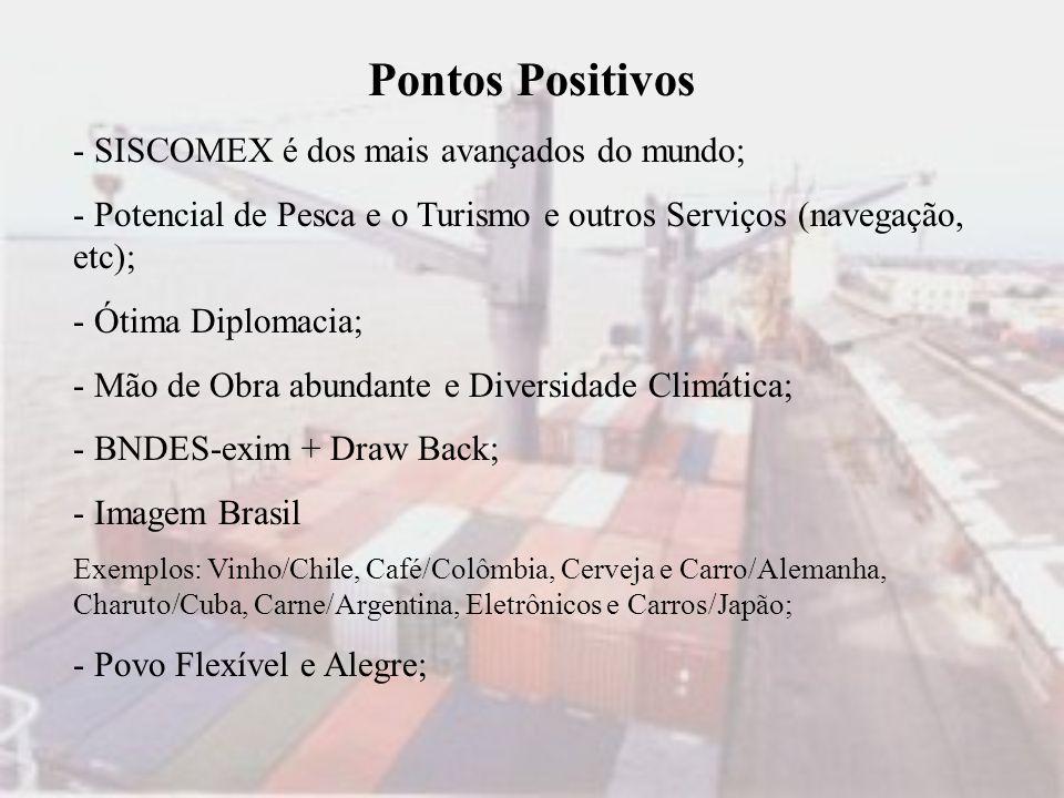 Pontos Positivos - SISCOMEX é dos mais avançados do mundo; - Potencial de Pesca e o Turismo e outros Serviços (navegação, etc); - Ótima Diplomacia; -