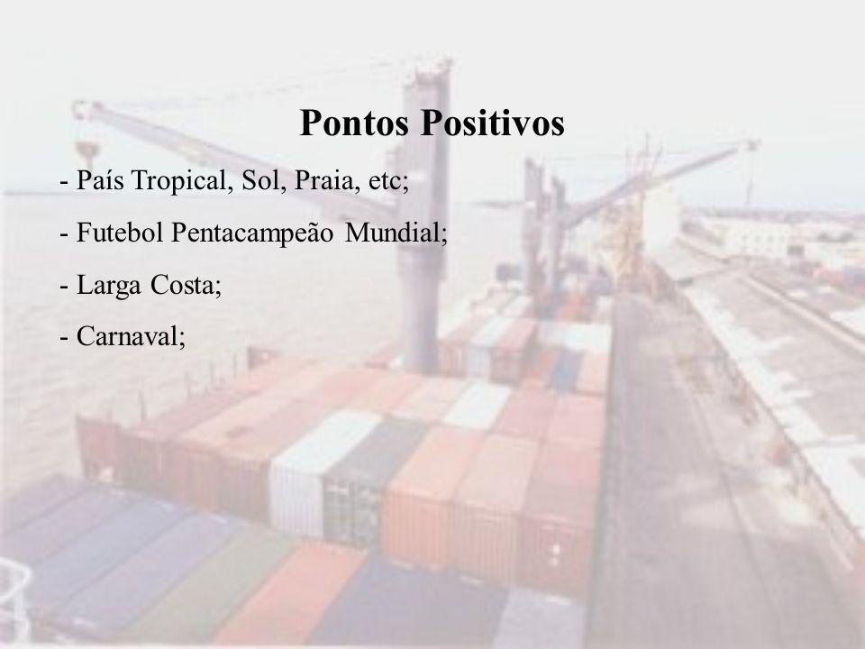 Pontos Positivos - País Tropical, Sol, Praia, etc; - Futebol Pentacampeão Mundial; - Larga Costa; - Carnaval;