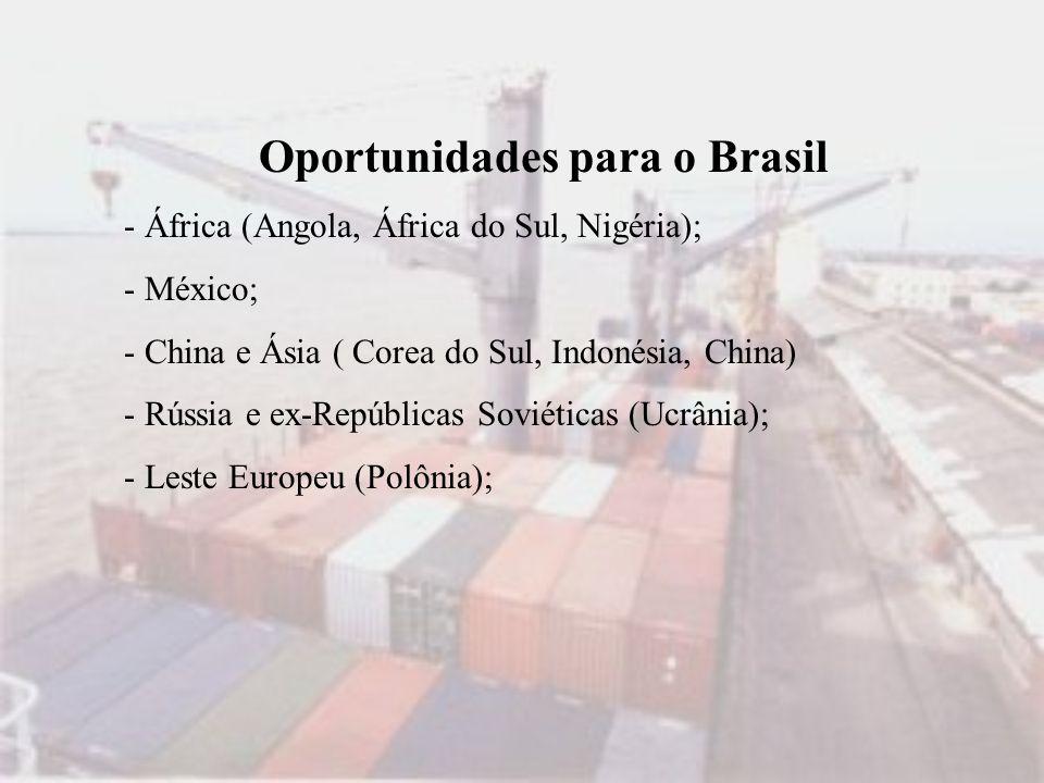 Oportunidades para o Brasil - África (Angola, África do Sul, Nigéria); - México; - China e Ásia ( Corea do Sul, Indonésia, China) - Rússia e ex-Repúbl