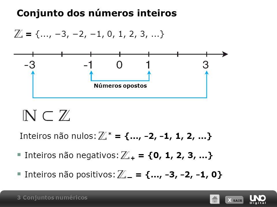 X SAIR Conjunto dos números inteiros Z = {..., 3, 2, 1, 0, 1, 2, 3,...} Inteiros não nulos: * = {..., 2, 1, 1, 2,...} Inteiros não negativos: + = {0, 1, 2, 3,...} Inteiros não positivos: = {..., 3, 2, 1, 0} 3 Conjuntos numéricos Números opostos