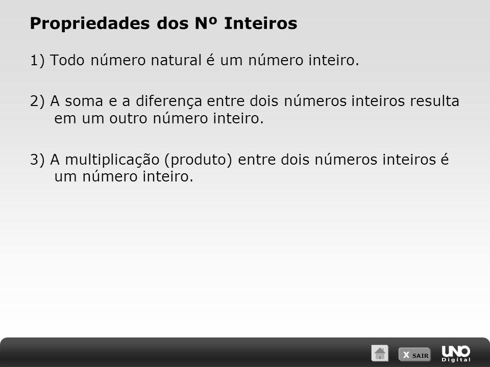X SAIR Propriedades dos Nº Inteiros 1) Todo número natural é um número inteiro.