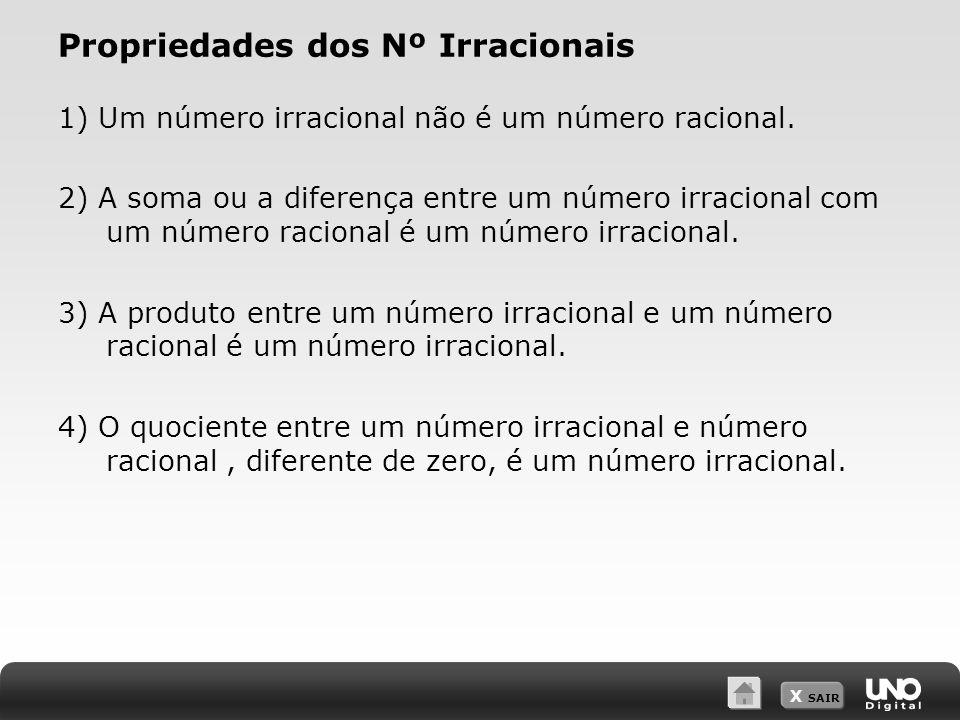 X SAIR Propriedades dos Nº Irracionais 1) Um número irracional não é um número racional.