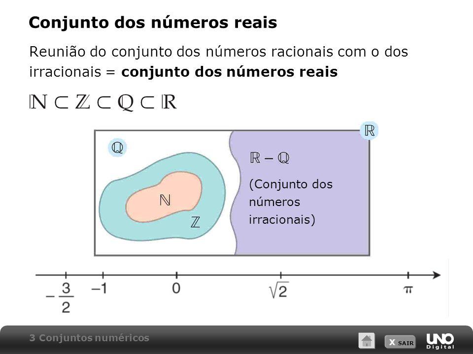X SAIR Conjunto dos números reais Reunião do conjunto dos números racionais com o dos irracionais = conjunto dos números reais 3 Conjuntos numéricos (Conjunto dos números irracionais)