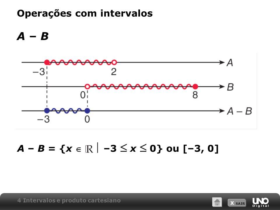 X SAIR Operações com intervalos A – B A – B = {x –3 x 0} ou [–3, 0] 4 Intervalos e produto cartesiano