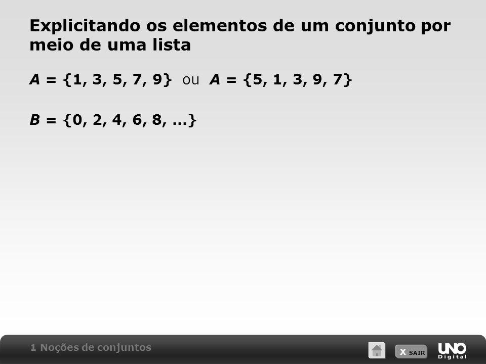 X SAIR Explicitando os elementos de um conjunto por meio de uma lista A = {1, 3, 5, 7, 9} ou A = {5, 1, 3, 9, 7} B = {0, 2, 4, 6, 8,...} 1 Noções de conjuntos