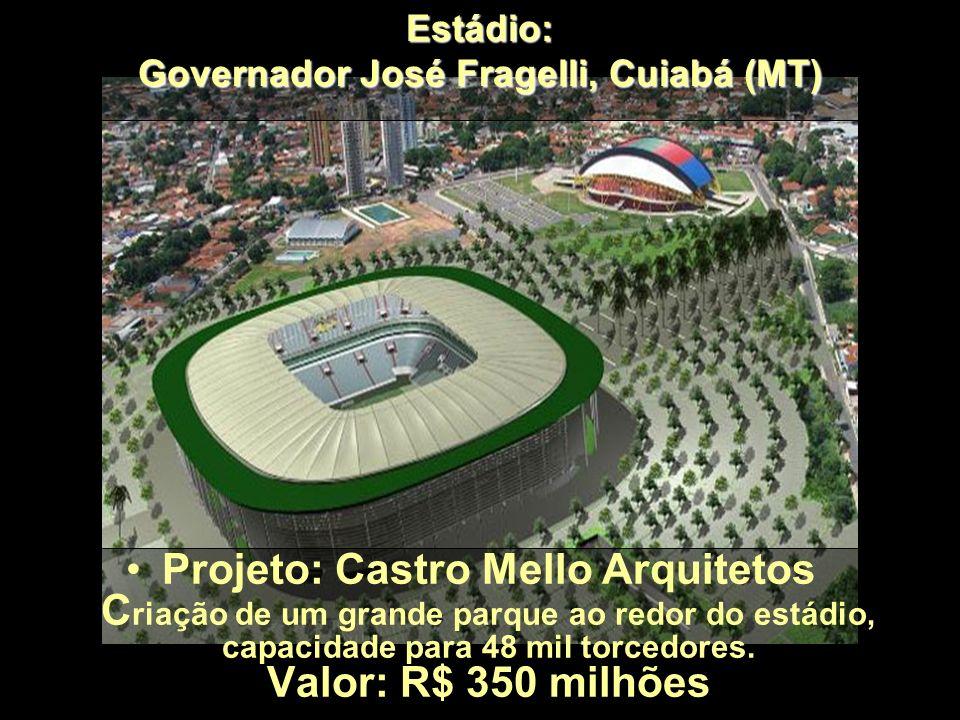 Estádio: Jornalista Mário Filho (Maracanã), RJ Projeto: Castro Mello Arquitetos Copa do Mundo de 2014 - será construída uma nova cobertura no estádio,