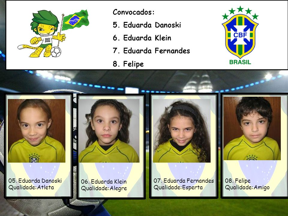 Atleta:Eduarda Danoski Naturalidade:Porto Alegre Time de origem:Inter Minhas habilidades:Ginástica