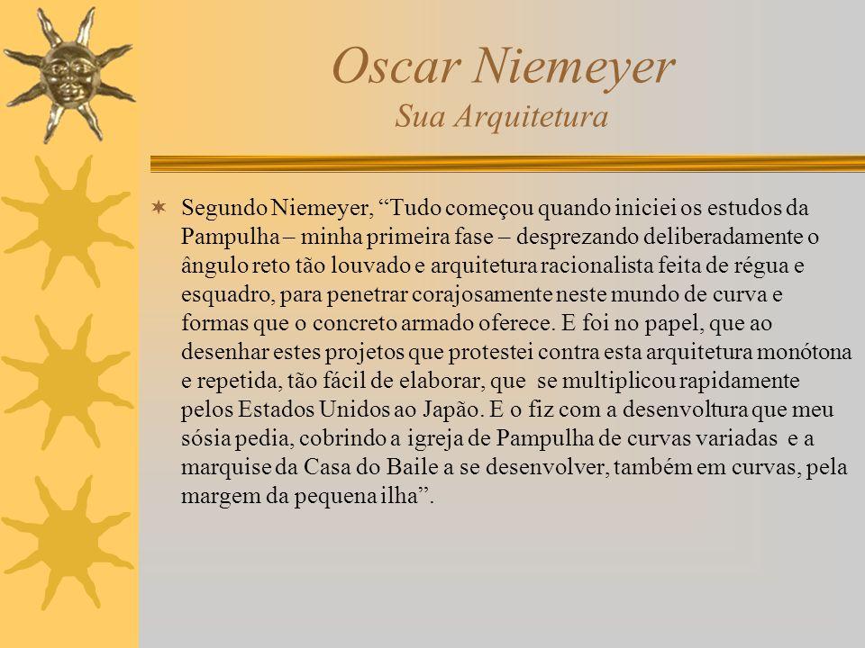 Oscar Niemeyer Sua Arquitetura Segundo Niemeyer, Tudo começou quando iniciei os estudos da Pampulha – minha primeira fase – desprezando deliberadament
