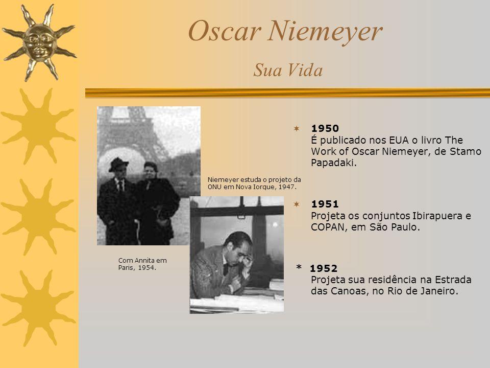 Oscar Niemeyer Sua Vida 1950 É publicado nos EUA o livro The Work of Oscar Niemeyer, de Stamo Papadaki. 1951 Projeta os conjuntos Ibirapuera e COPAN,