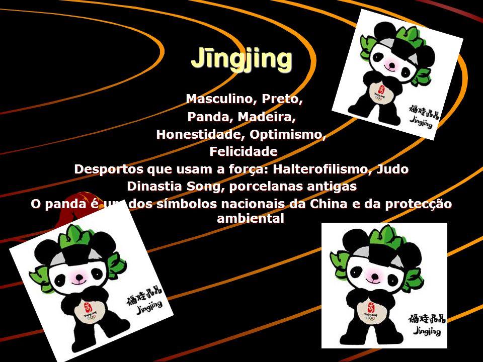Jīngjing Masculino, Preto, Masculino, Preto, Panda, Madeira, Honestidade, Optimismo, Felicidade Felicidade Desportos que usam a força: Halterofilismo, Judo Dinastia Song, porcelanas antigas O panda é um dos símbolos nacionais da China e da protecção ambiental