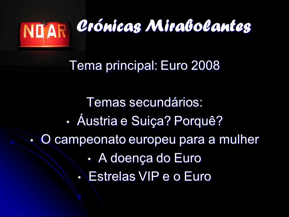 Crónicas Mirabolantes Crónicas Mirabolantes Tema principal: Euro 2008 Temas secundários: Áustria e Suiça? Porquê? Áustria e Suiça? Porquê? O campeonat