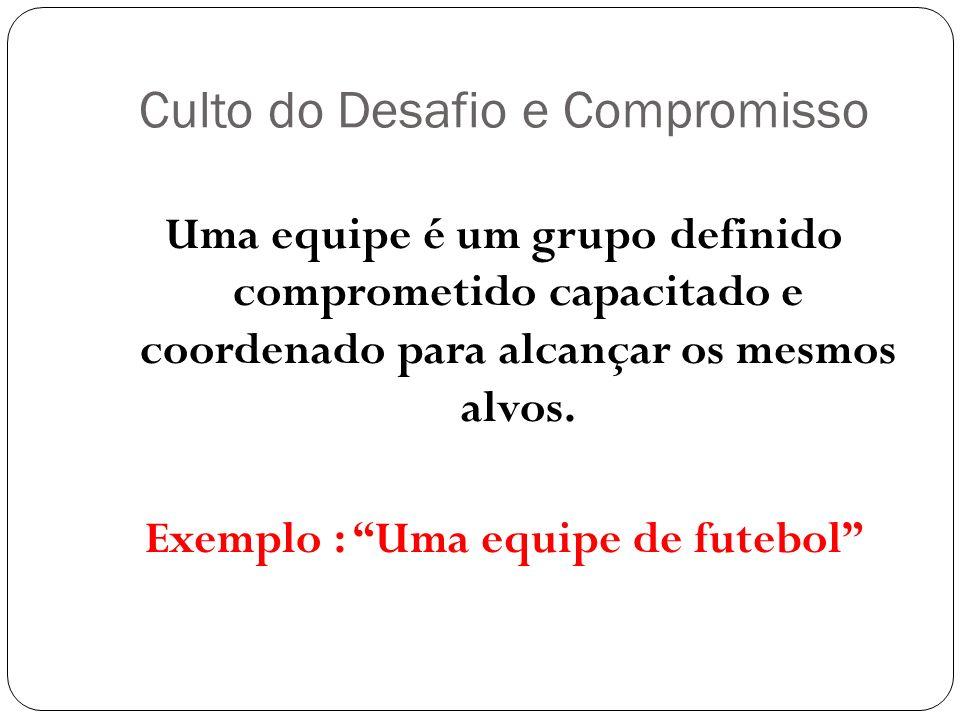 Culto do Desafio e Compromisso Uma equipe é um grupo definido comprometido capacitado e coordenado para alcançar os mesmos alvos. Exemplo : Uma equipe