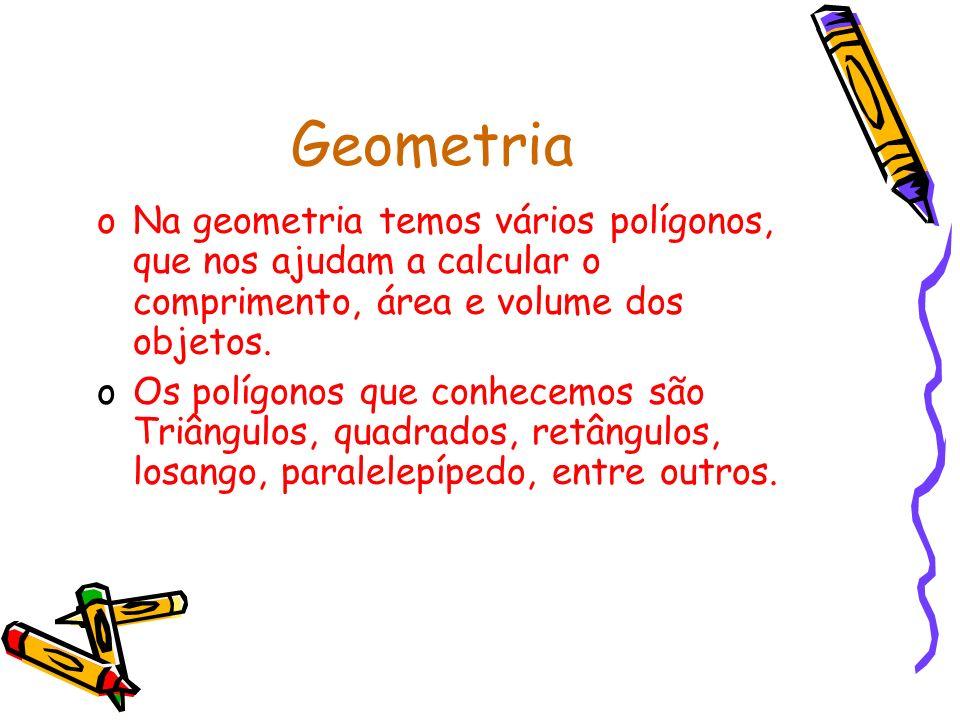 Geometria oNa geometria temos vários polígonos, que nos ajudam a calcular o comprimento, área e volume dos objetos.
