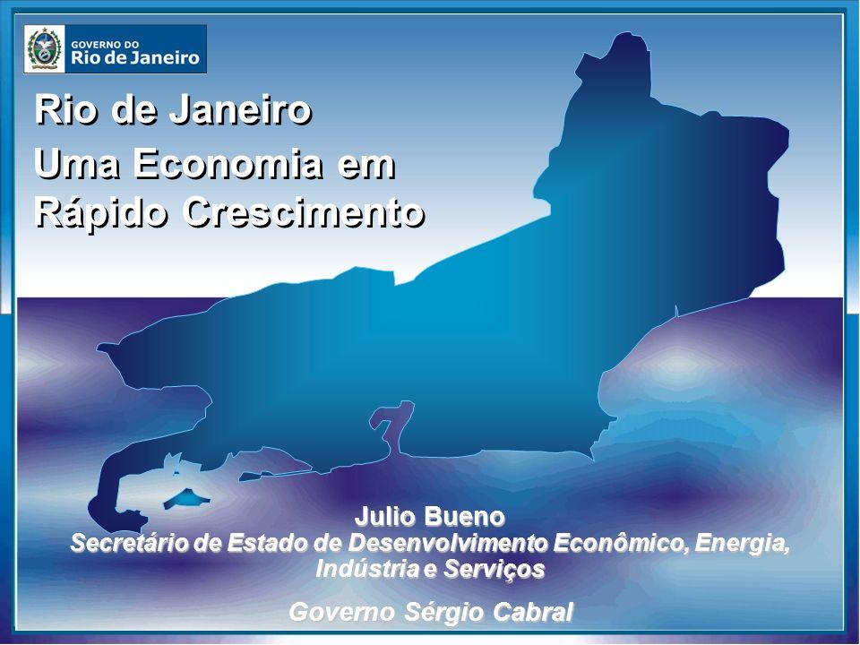 Rio de Janeiro Produção de Energia Angra 2 RJ Planta Termoelétrica do Norte Auto suficiência em geração de energia elétrica– Produção – 7.400 MGW Auto suficiência em geração de energia elétrica– Produção – 7.400 MGW Seis Plantas Termoelétricas – 4.320 MGW Seis Plantas Termoelétricas – 4.320 MGW Plantas Nucleares – Angra 1 e Angra 2 Plantas Nucleares – Angra 1 e Angra 2 83% da produção brasileira de petróleo – Produção: 1,6 milhões de barris / dia 83% da produção brasileira de petróleo – Produção: 1,6 milhões de barris / dia 43% da produção brasileira de gás natural – Produção: 20 milhões Nm³/dia 43% da produção brasileira de gás natural – Produção: 20 milhões Nm³/dia