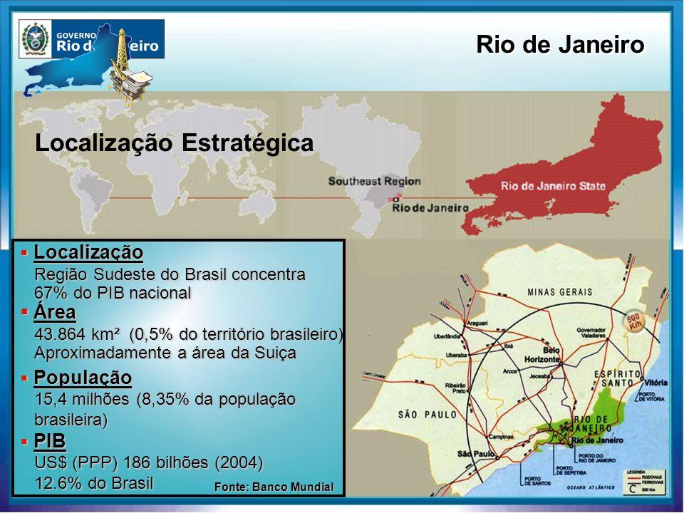Localização Localização Região Sudeste do Brasil concentra 67% do PIB nacional Área Área 43.864 km² (0,5% do território brasileiro) Aproximadamente a