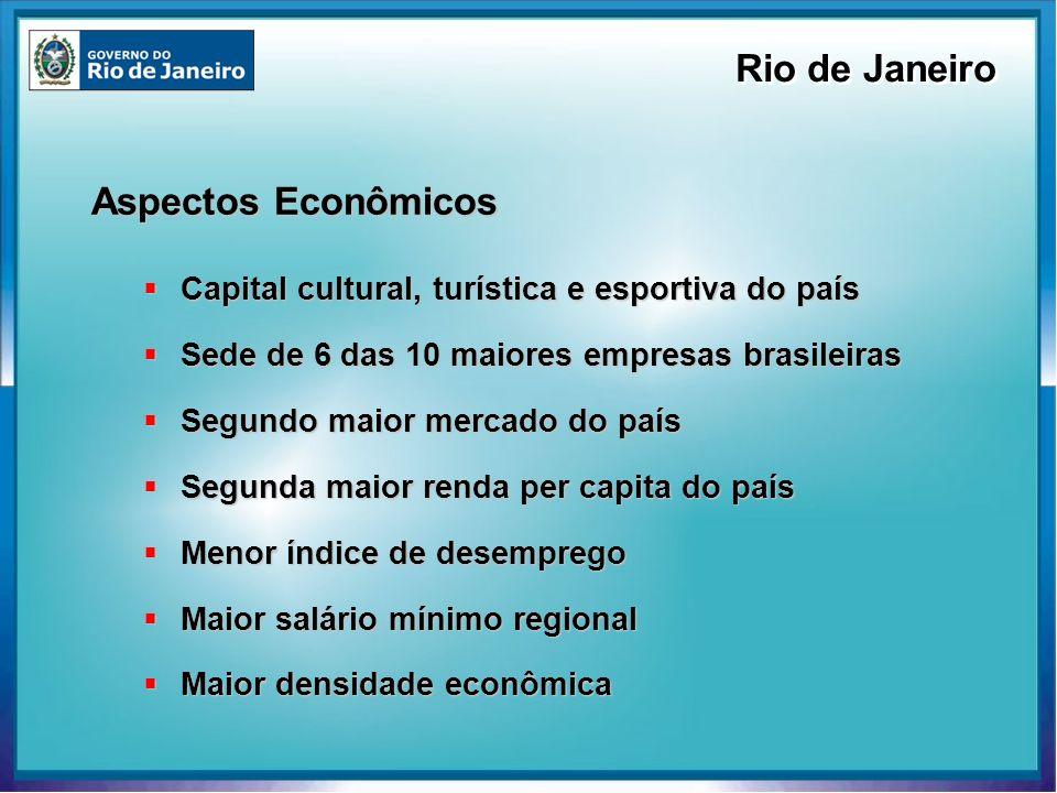 Aspectos Econômicos Capital cultural, turística e esportiva do país Capital cultural, turística e esportiva do país Sede de 6 das 10 maiores empresas