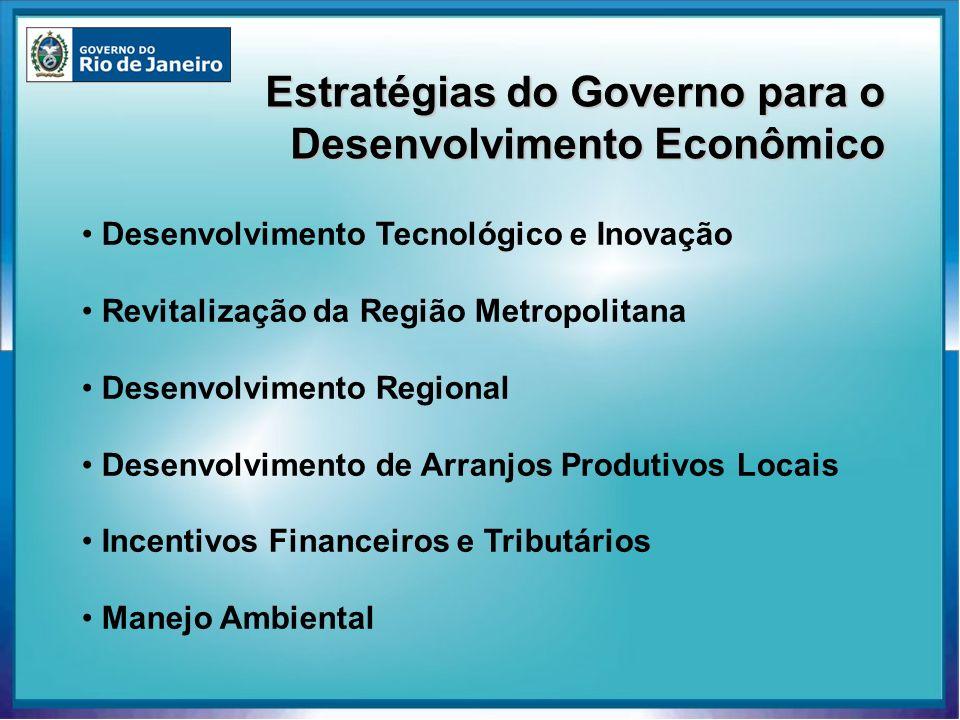 Estratégias do Governo para o Desenvolvimento Econômico Desenvolvimento Tecnológico e Inovação Revitalização da Região Metropolitana Desenvolvimento R