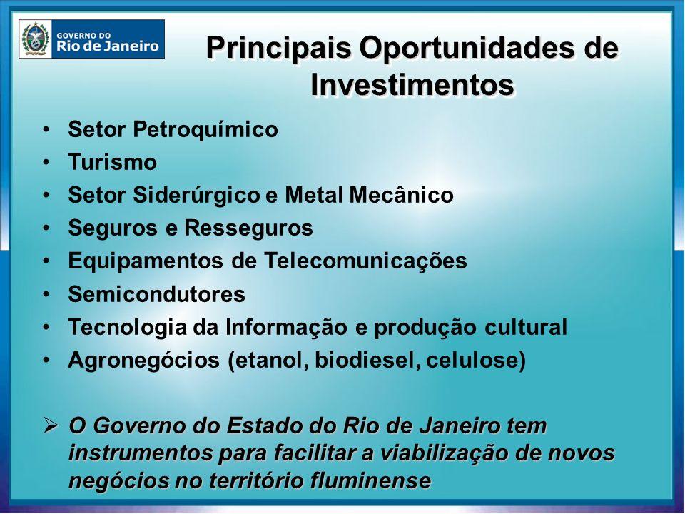 Principais Oportunidades de Investimentos Setor Petroquímico Turismo Setor Siderúrgico e Metal Mecânico Seguros e Resseguros Equipamentos de Telecomun
