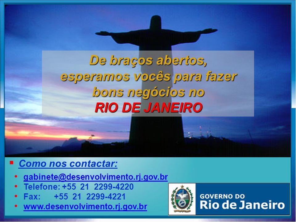 De braços abertos, esperamos vocês para fazer bons negócios no RIO DE JANEIRO gabinete@desenvolvimento.rj.gov.br@desenvolvimento.rj.gov.br Telefone: +