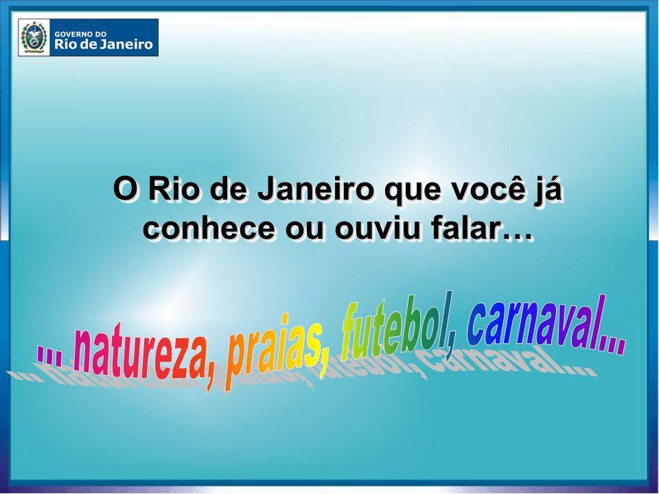 6 Portos: 6 Portos: Rio, Niterói, Angra dos Reis, Forno, Itaguaí e Ilha Guaíba Terminais Alfandegados Terminais Alfandegados Ampla malha de rodovias e ferrovias Ampla malha de rodovias e ferrovias 3 aeroportos na capital 3 aeroportos na capital 10 aeroportos no interior, incluindo o novo aeroporto internacional localizado em Cabo Frio 10 aeroportos no interior, incluindo o novo aeroporto internacional localizado em Cabo Frio Aeroporto Internacional do Rio de Janeiro - Antonio Carlos Jobim Rio de Janeiro Porto do Rio de Janeiro Infra-estrutura e Logística