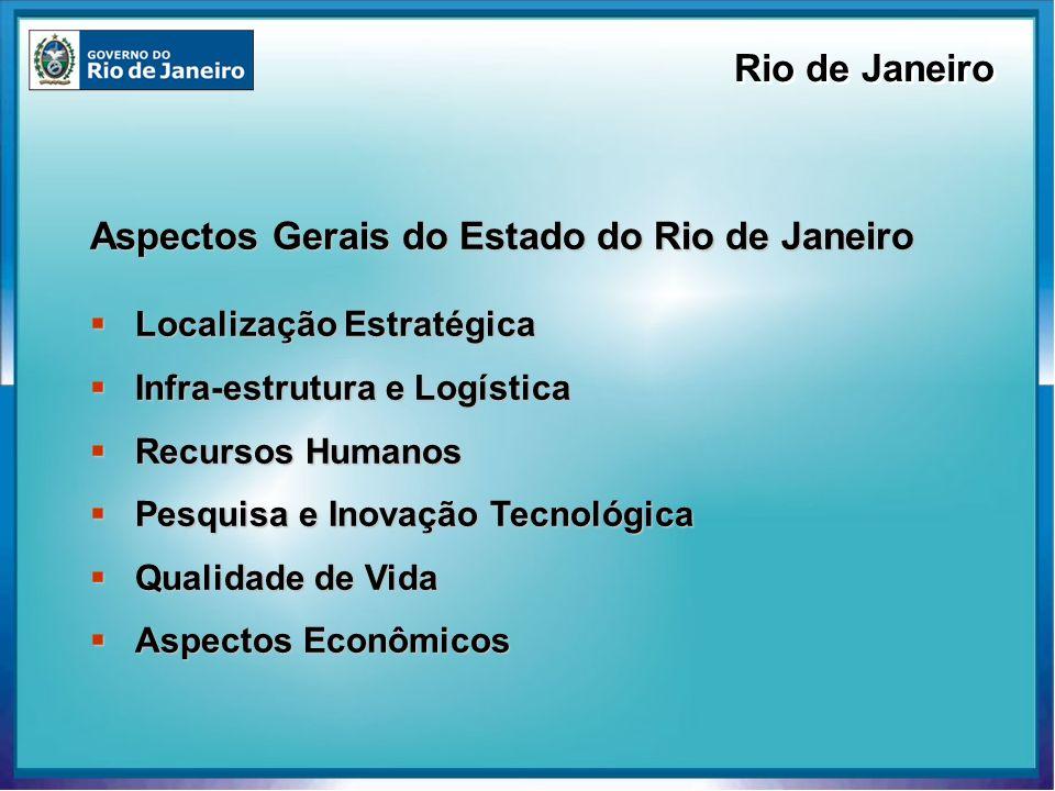 Localização Localização Região Sudeste do Brasil concentra 67% do PIB nacional Área Área 43.864 km² (0,5% do território brasileiro) Aproximadamente a área da Suiça População População 15,4 milhões (8,35% da população brasileira) PIB PIB US$ (PPP) 186 bilhões (2004) 12.6% do Brasil Rio de Janeiro Localização Estratégica Fonte: Banco Mundial