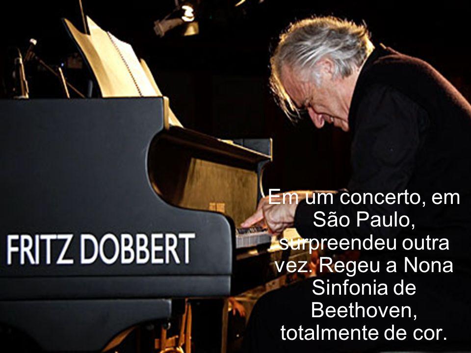 Aos 63 anos de idade, ele foi estudar regência. Dois anos depois regeu a Orquestra Inglesa de Câmara, em Londres.