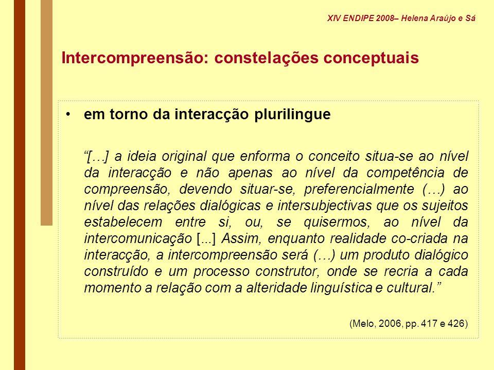 em torno da interacção plurilingue […] a ideia original que enforma o conceito situa-se ao nível da interacção e não apenas ao nível da competência de
