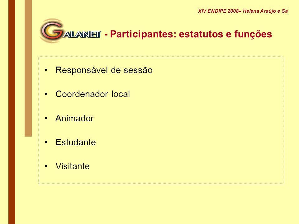 - Participantes: estatutos e funções Responsável de sessão Coordenador local Animador Estudante Visitante XIV ENDIPE 2008– Helena Araújo e Sá