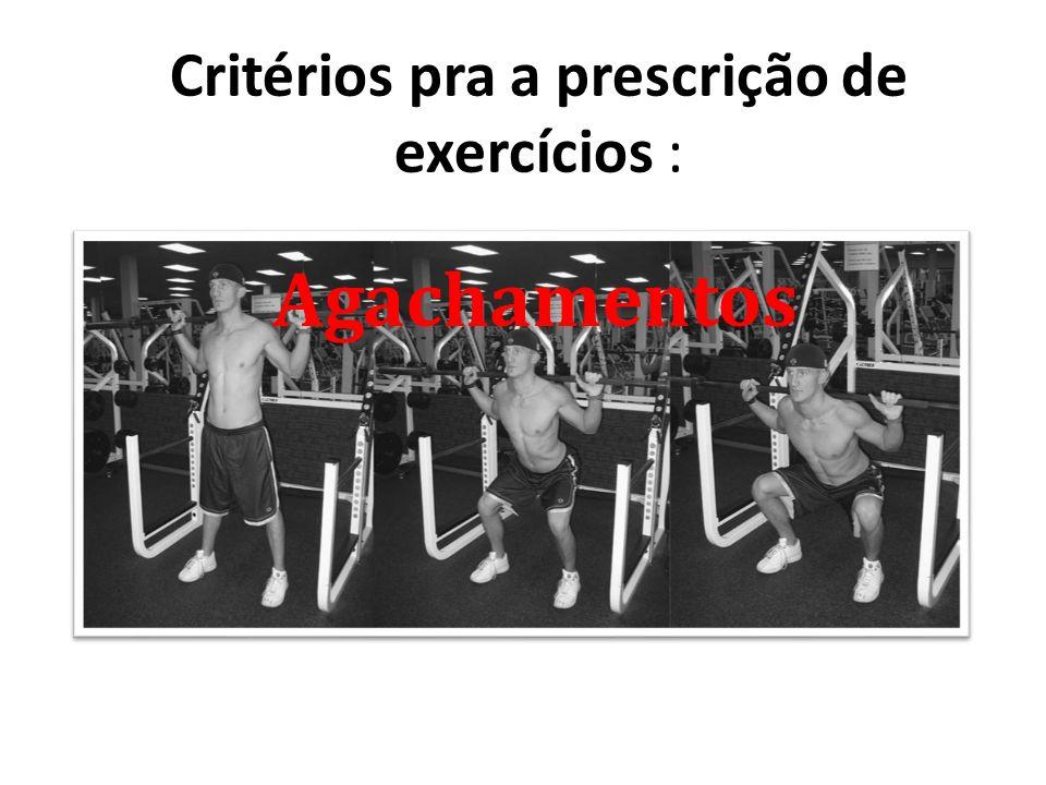 Critérios pra a prescrição de exercícios : Agachamentos