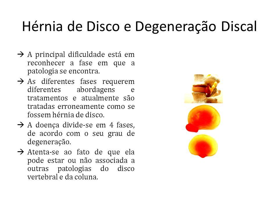 Hérnia de Disco e Degeneração Discal A principal dificuldade está em reconhecer a fase em que a patologia se encontra. As diferentes fases requerem di