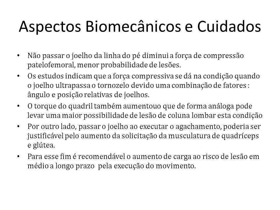 Aspectos Biomecânicos e Cuidados Não passar o joelho da linha do pé diminui a força de compressão patelofemoral, menor probabilidade de lesões. Os est