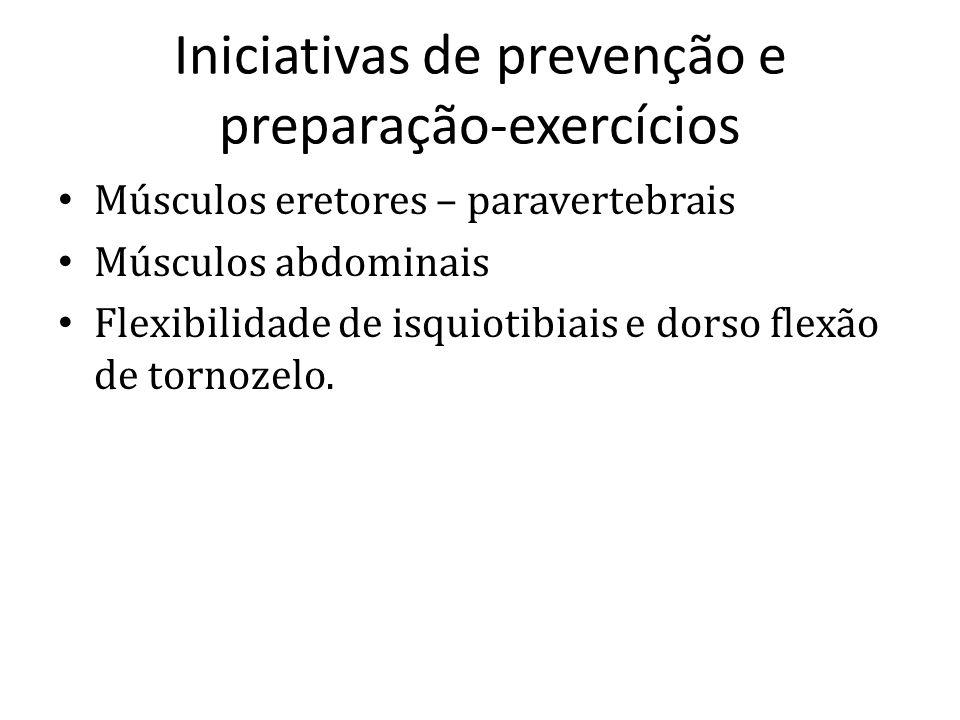 Iniciativas de prevenção e preparação-exercícios Músculos eretores – paravertebrais Músculos abdominais Flexibilidade de isquiotibiais e dorso flexão