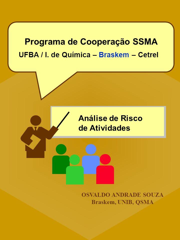 Análise de Risco de Atividades OSVALDO ANDRADE SOUZA Braskem, UNIB, QSMA Programa de Cooperação SSMA UFBA / I. de Química – Braskem – Cetrel