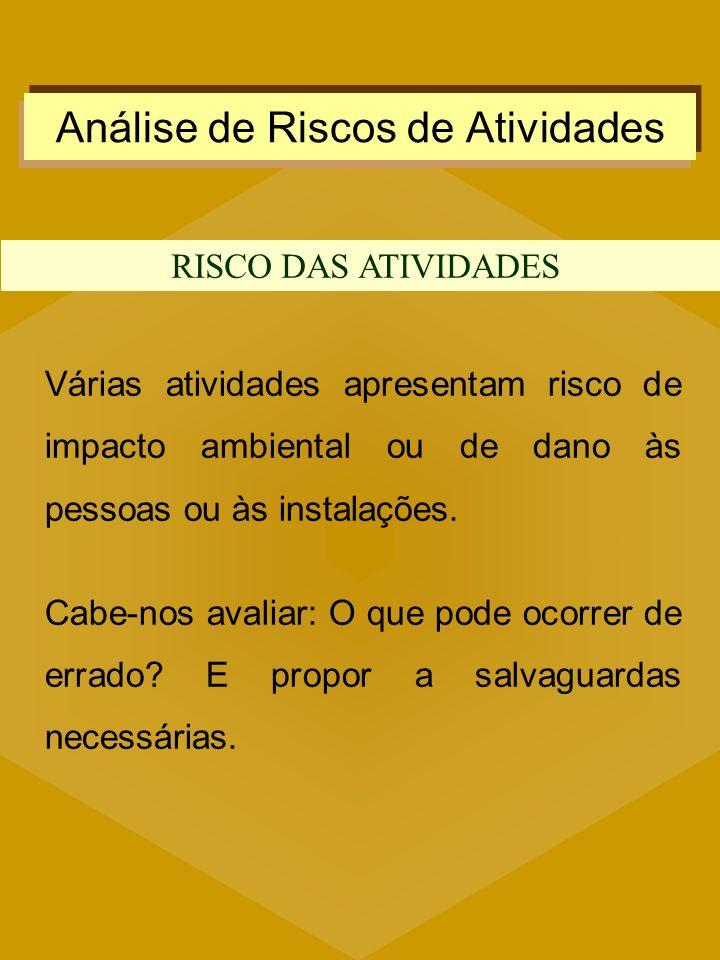 Análise de Riscos de Atividades RISCO DAS ATIVIDADES Várias atividades apresentam risco de impacto ambiental ou de dano às pessoas ou às instalações.