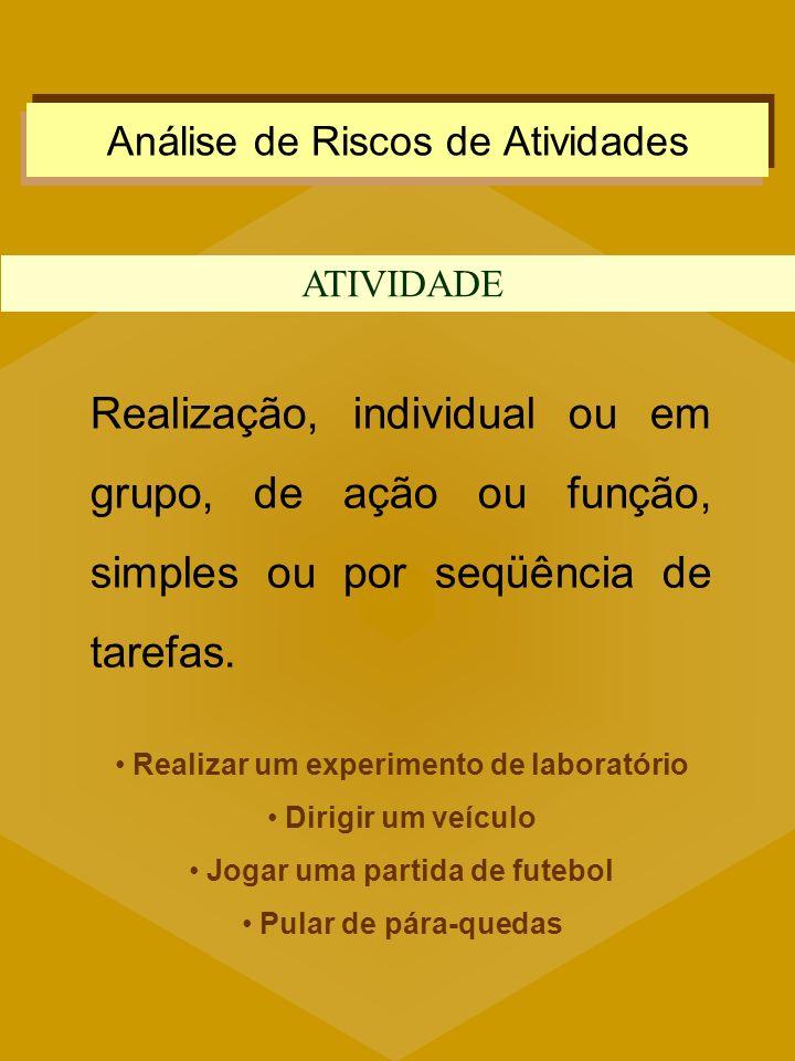 Análise de Riscos de Atividades ATIVIDADE Realização, individual ou em grupo, de ação ou função, simples ou por seqüência de tarefas. Realizar um expe