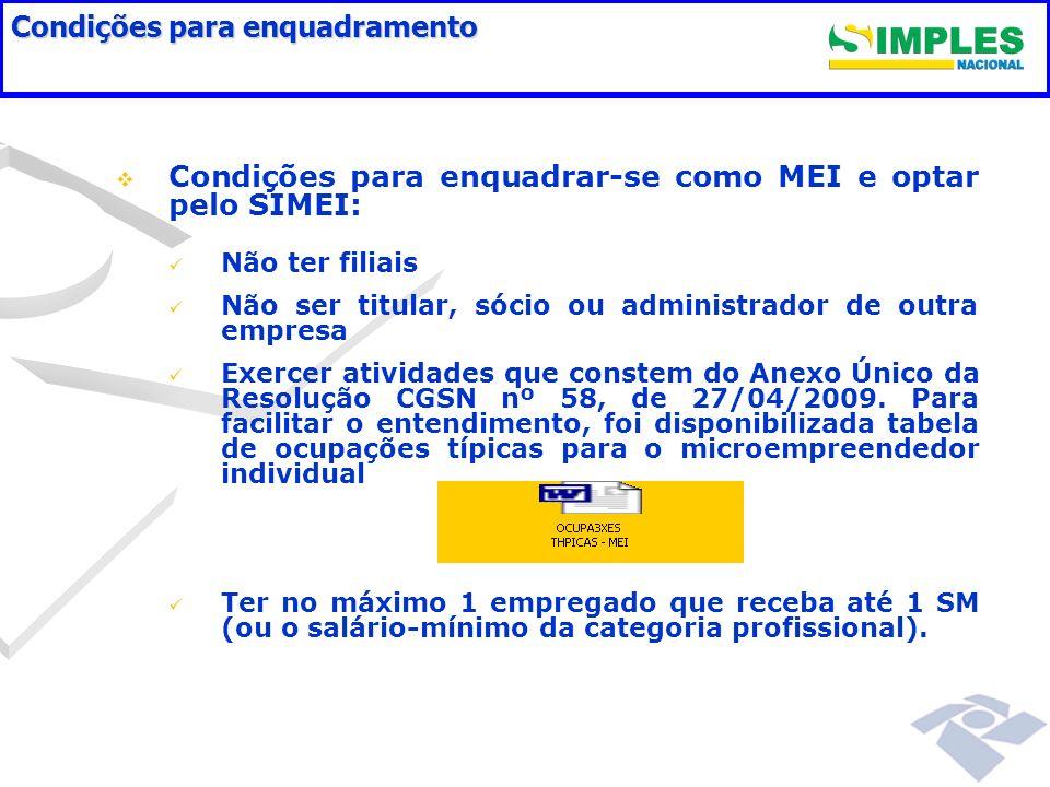 Condições para enquadramento Condições para enquadrar-se como MEI e optar pelo SIMEI: Não ter filiais Não ser titular, sócio ou administrador de outra empresa Exercer atividades que constem do Anexo Único da Resolução CGSN nº 58, de 27/04/2009.