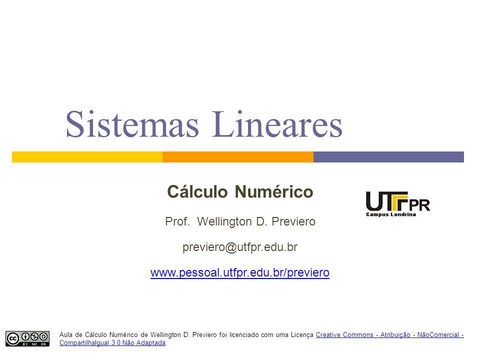 Sistemas Lineares Cálculo Numérico Prof. Wellington D. Previero previero@utfpr.edu.br www.pessoal.utfpr.edu.br/previero Aula de Cálculo Numérico de We