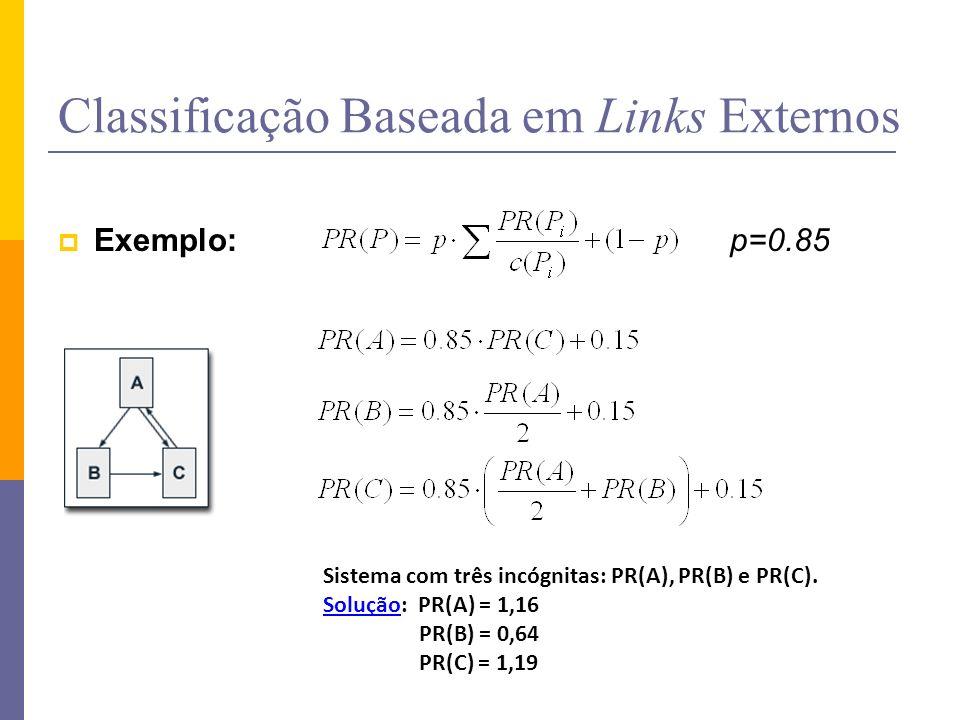 Classificação Baseada em Links Externos Exemplo: p=0.85 Sistema com três incógnitas: PR(A), PR(B) e PR(C). SoluçãoSolução: PR(A) = 1,16 PR(B) = 0,64 P