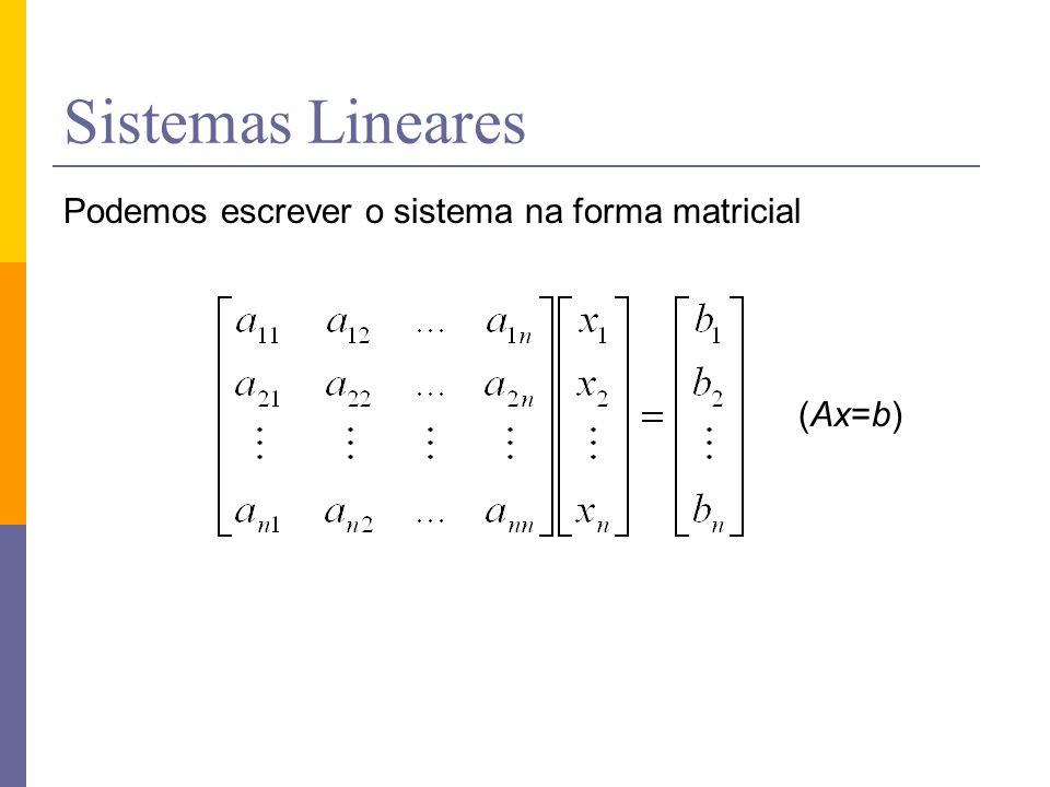 Sistemas Lineares Podemos escrever o sistema na forma matricial (Ax=b)