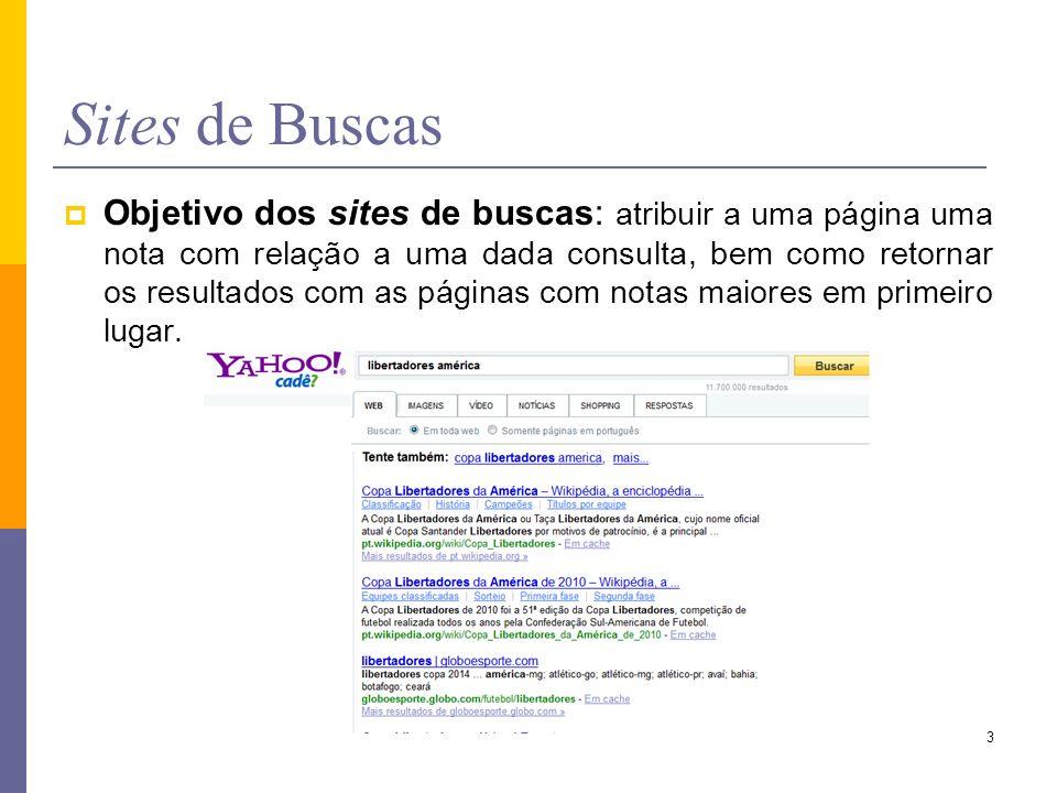 Objetivo dos sites de buscas: atribuir a uma página uma nota com relação a uma dada consulta, bem como retornar os resultados com as páginas com notas
