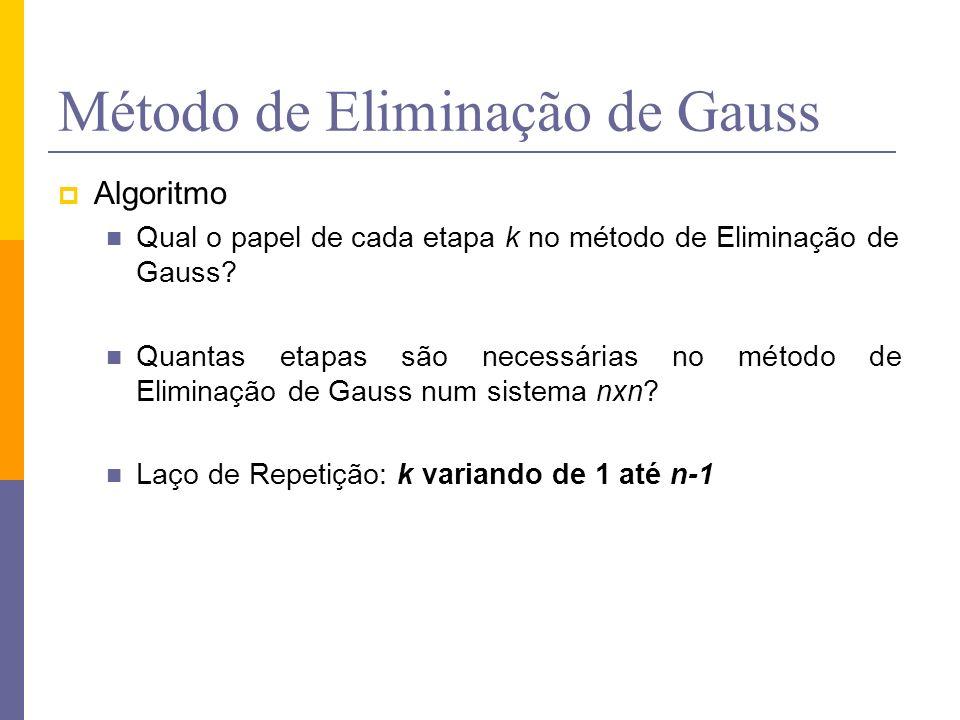 Método de Eliminação de Gauss Algoritmo Qual o papel de cada etapa k no método de Eliminação de Gauss? Quantas etapas são necessárias no método de Eli