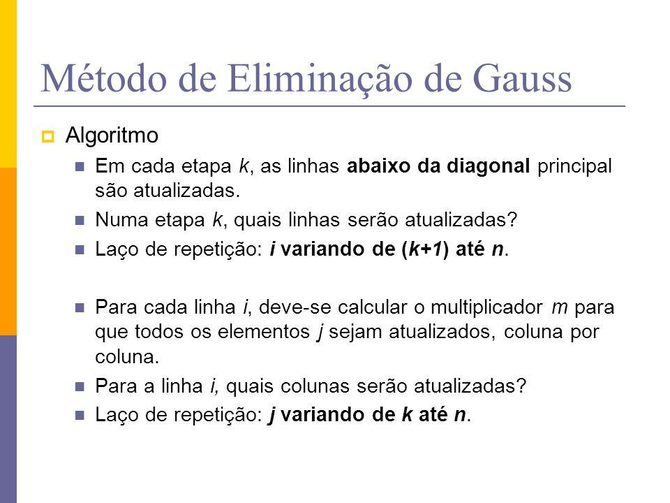 Método de Eliminação de Gauss Algoritmo Em cada etapa k, as linhas abaixo da diagonal principal são atualizadas. Numa etapa k, quais linhas serão atua
