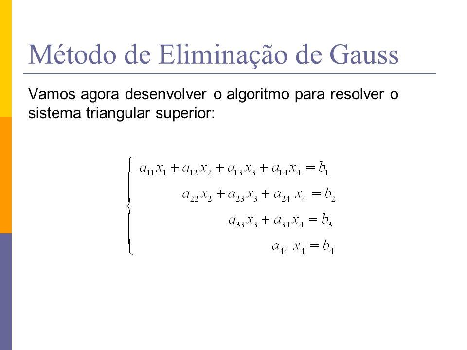 Método de Eliminação de Gauss Vamos agora desenvolver o algoritmo para resolver o sistema triangular superior: