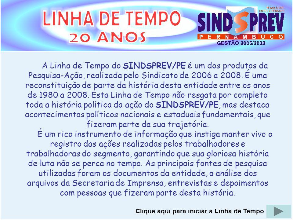 A Linha de Tempo do SINDSPREV/PE é um dos produtos da Pesquisa-Ação, realizada pelo Sindicato de 2006 a 2008. É uma reconstituição de parte da históri