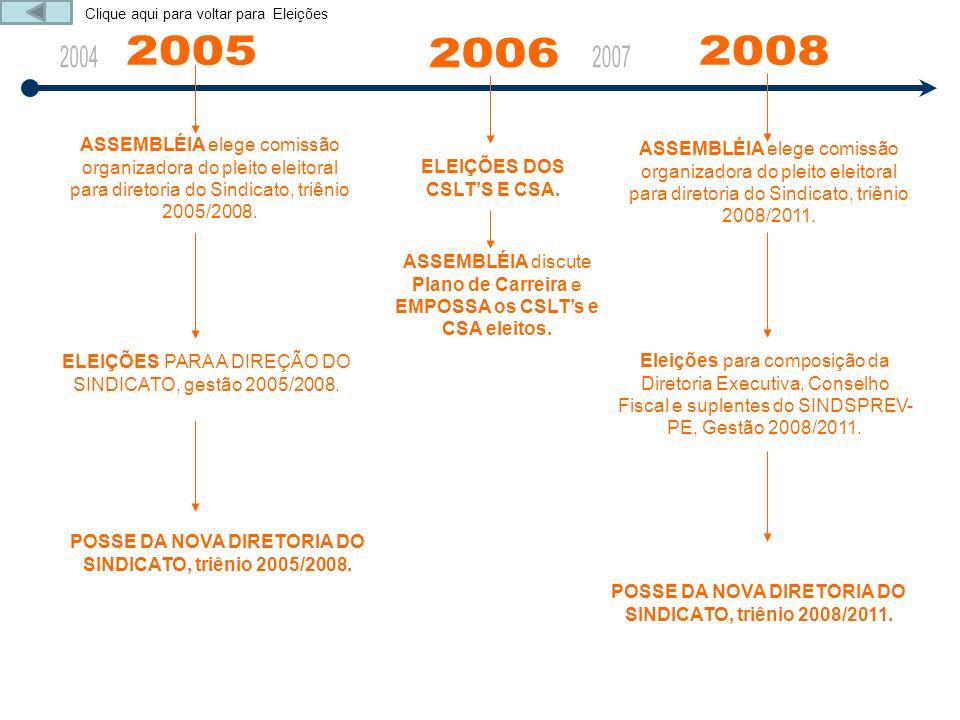 ASSEMBLÉIA elege comissão organizadora do pleito eleitoral para diretoria do Sindicato, triênio 2005/2008. ELEIÇÕES PARA A DIREÇÃO DO SINDICATO, gestã