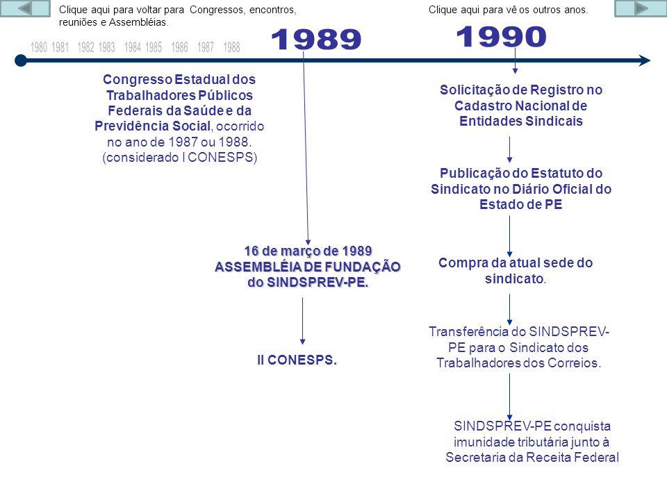 Congresso Estadual dos Trabalhadores Públicos Federais da Saúde e da Previdência Social, ocorrido no ano de 1987 ou 1988. (considerado I CONESPS) 16 d