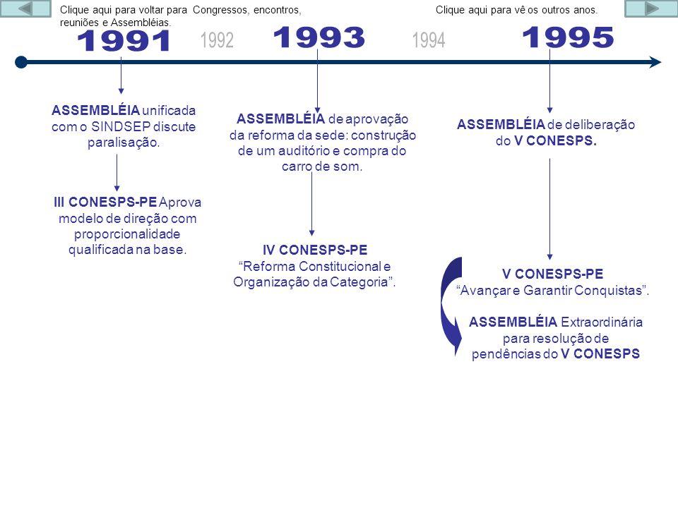 ASSEMBLÉIA unificada com o SINDSEP discute paralisação. III CONESPS-PE Aprova modelo de direção com proporcionalidade qualificada na base. ASSEMBLÉIA