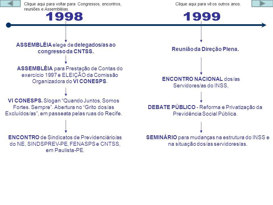 ASSEMBLÉIA elege de delegados/as ao congresso da CNTSS. ASSEMBLÉIA para Prestação de Contas do exercício 1997 e ELEIÇÃO da Comissão Organizadora do VI