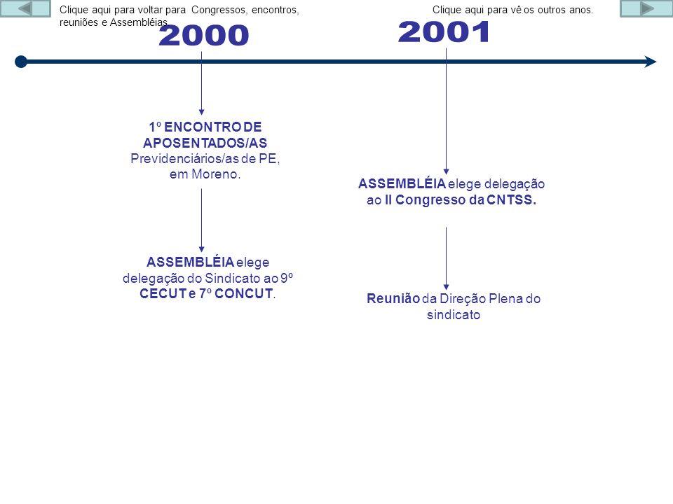 1º ENCONTRO DE APOSENTADOS/AS Previdenciários/as de PE, em Moreno. ASSEMBLÉIA elege delegação do Sindicato ao 9º CECUT e 7º CONCUT. ASSEMBLÉIA elege d