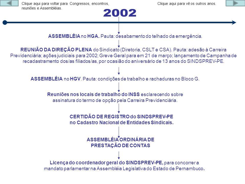 ASSEMBLÉIA no HGA. Pauta: desabamento do telhado da emergência. REUNIÃO DA DIREÇÃO PLENA do Sindicato (Diretoria, CSLT e CSA). Pauta: adesão à Carreir